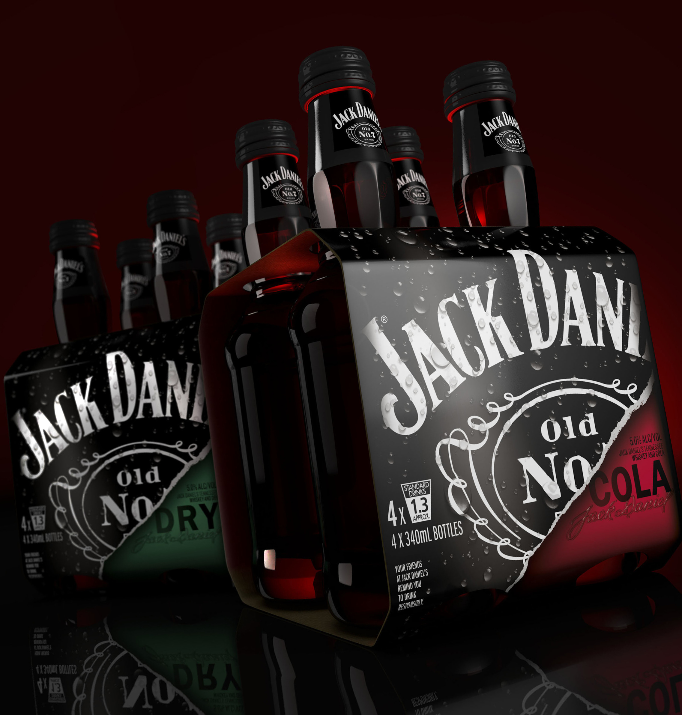 Photo:secondary packaging for  Jack Daniel's RTD cocktails