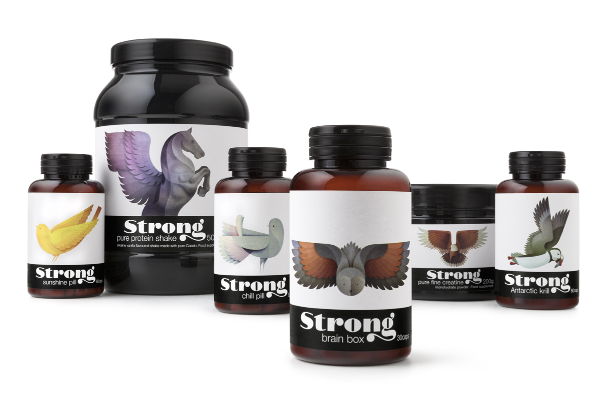 Photo: packaging and identity for a new brand of nutrients, Strong