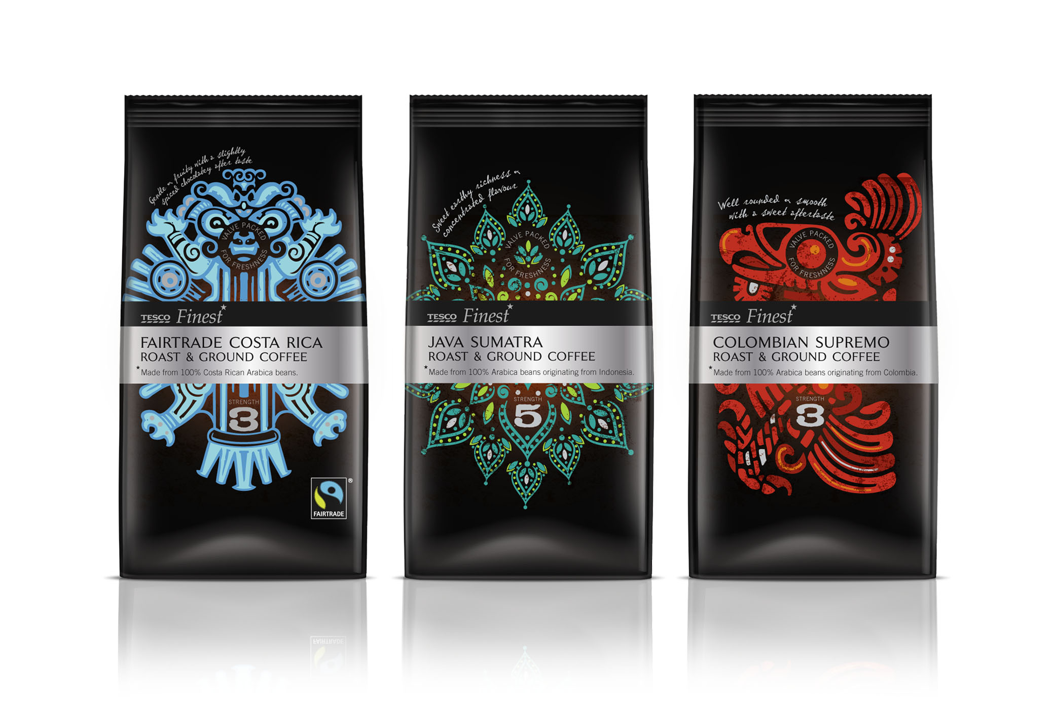 Photo: Tesco fine coffee range, designed by P&W