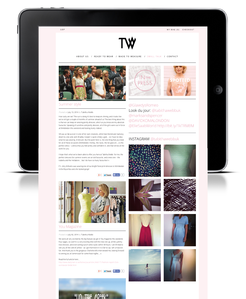 Photo: Tabitha Webb's logo, packaging and e-commerce website