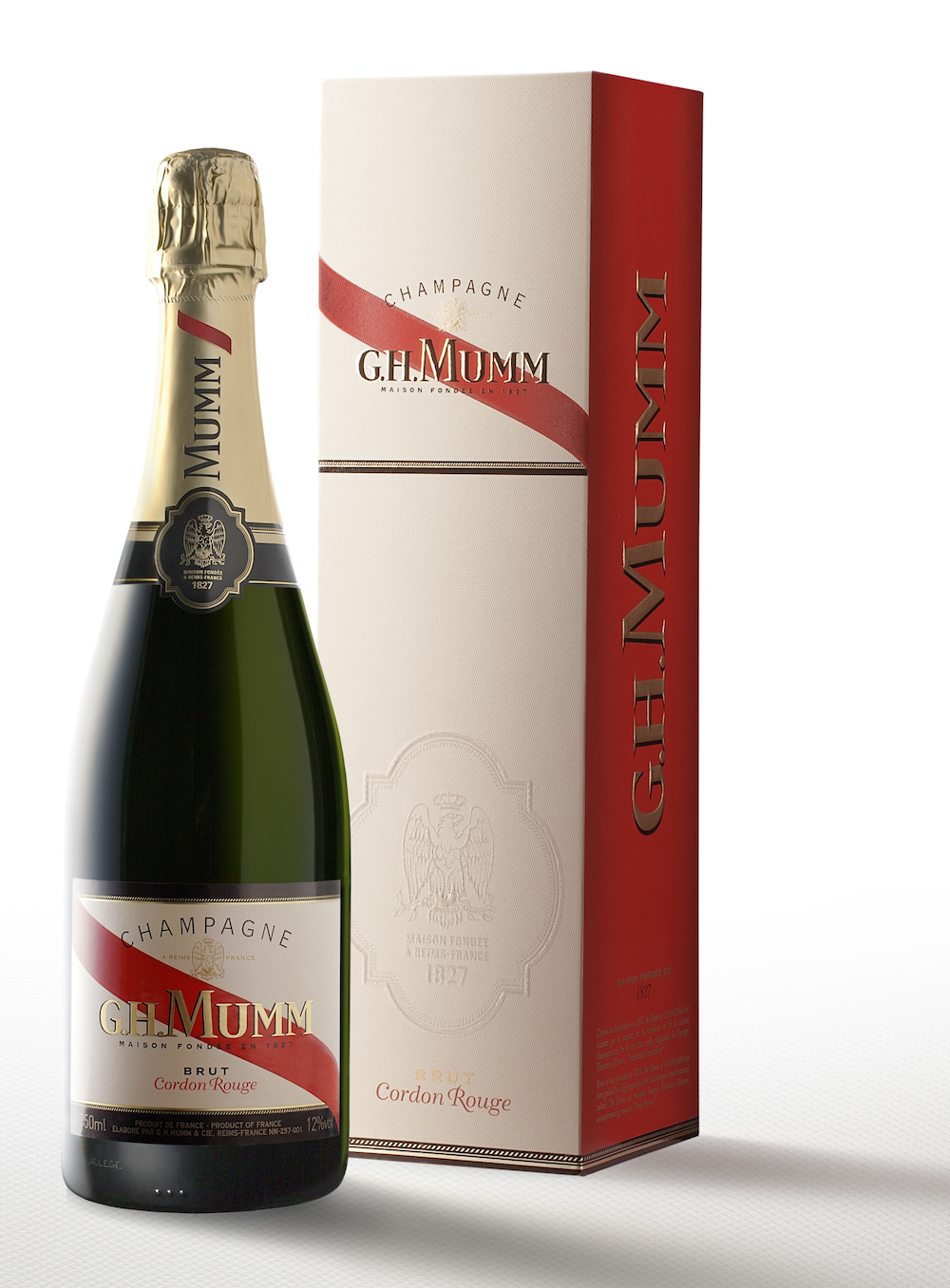 Photo: new packaging for the Gordon Rouge cuvee of the famous G.H. Mumm champaign
