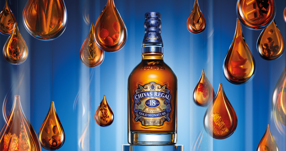Pic.: Glass droplets for Chivas 18