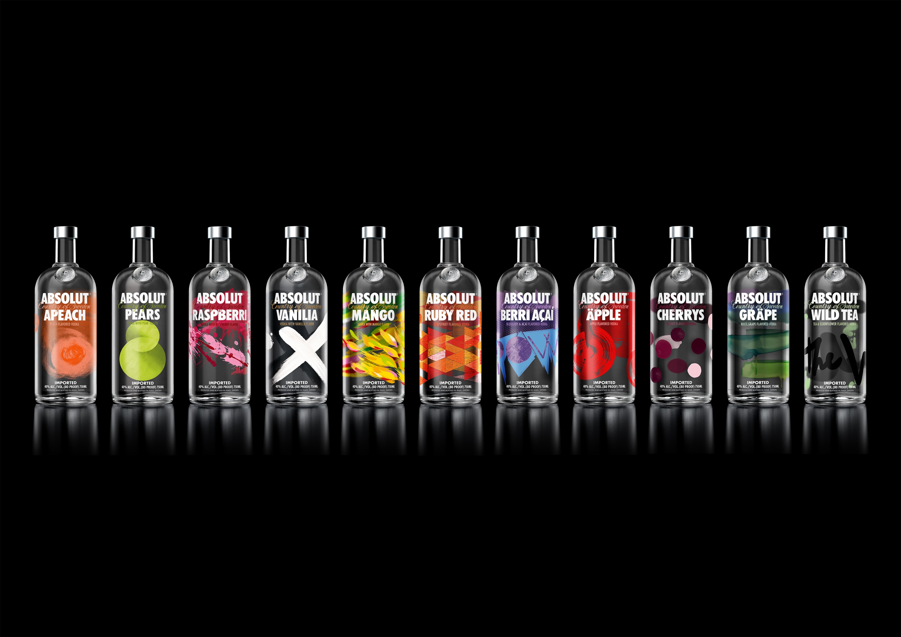 Absolut redesigns packaging for 11 flavoured vodkas in a for Absolute cuisine