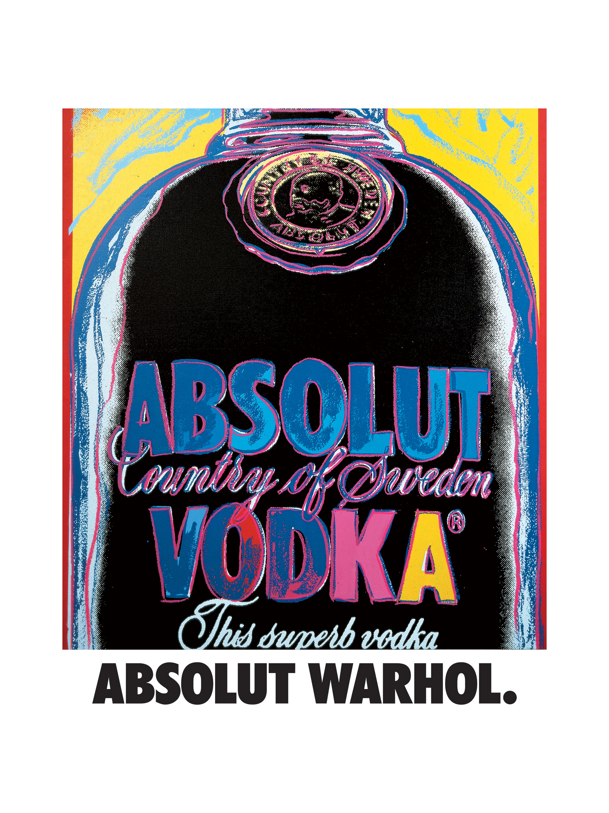 Photo: the original Warhol's artwork inspired by iconic Absolut bottle, 1986
