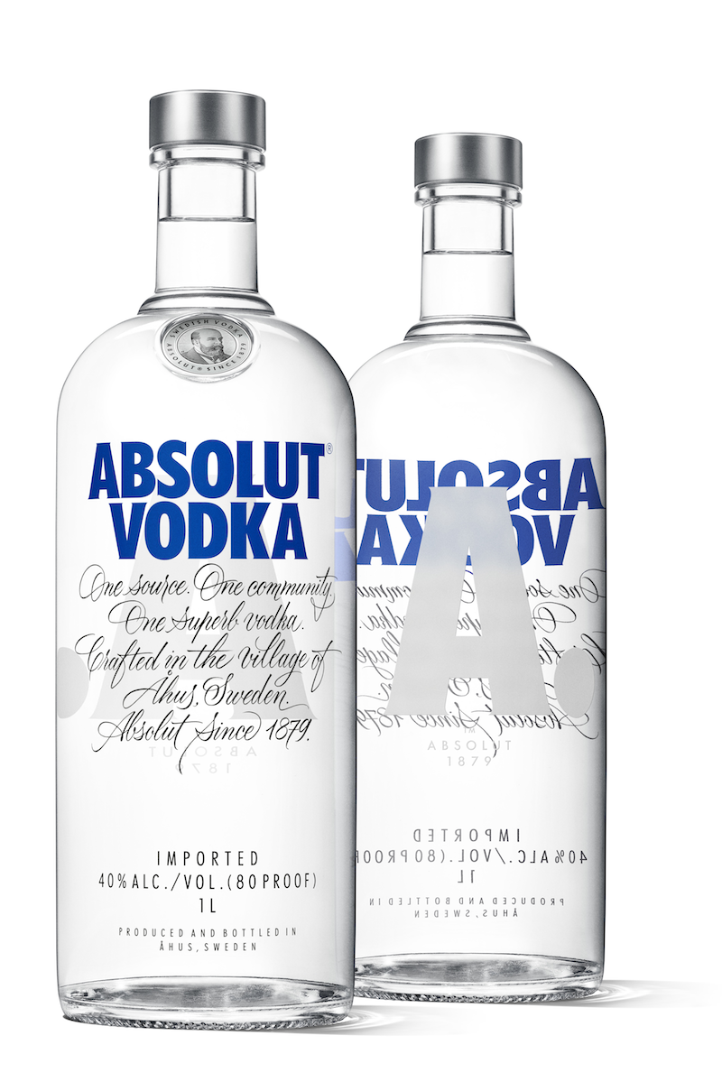 Photo: the new Aboslut Vodka bottle: front and back sides