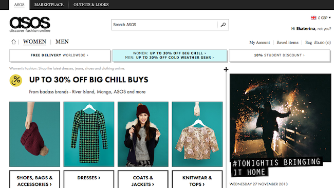 Pic.: ASOS's homepage