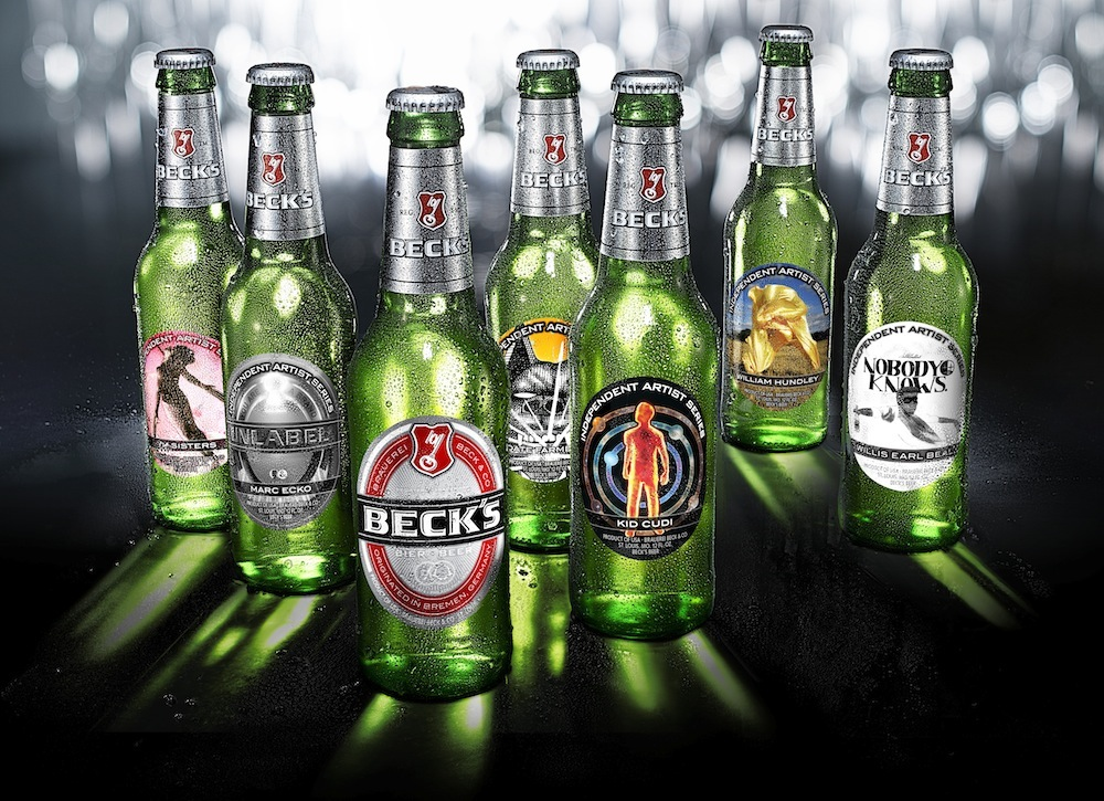 Photo: six Beck's limited-edition bottles featuring art labels