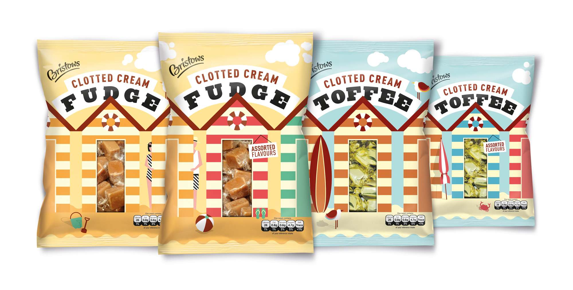 Photo: new Bristows Toffee and Fudge sweets in the packs designed by Aesop