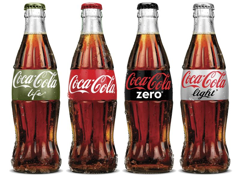 Photo: (from left to right) Coca-Cola Life, Coca-Cola, Coca-Cola Zero, Coca-Cola Light
