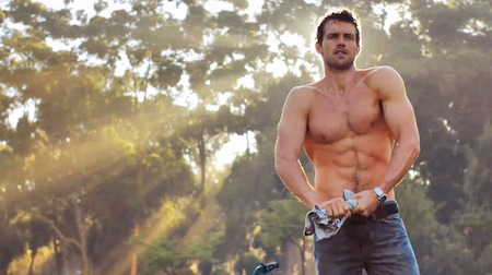 "Photo: a screenshot from Diet Coke ""Hunk"" commercial, 2014"