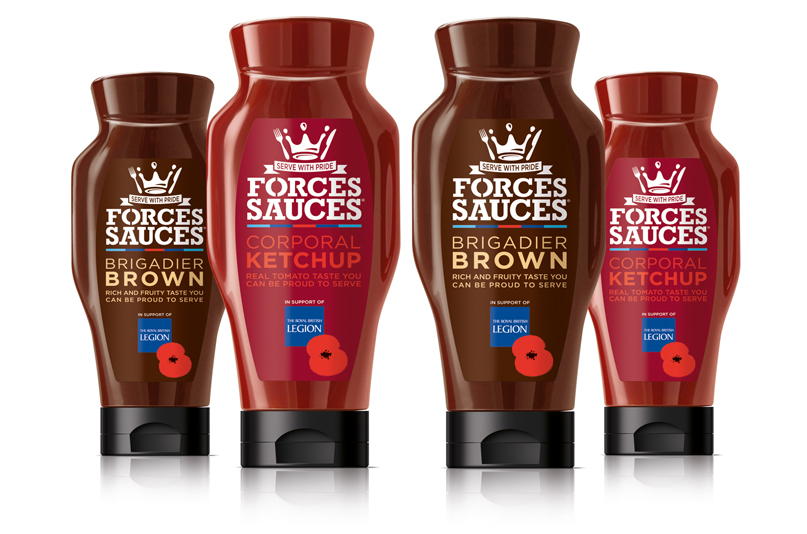 Photo: Forces Sauces, charitable brand designed by bluemarlin