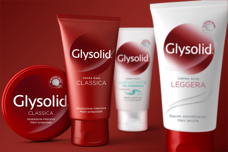 Photo: redesigned packaging for the Glysolid hand creams