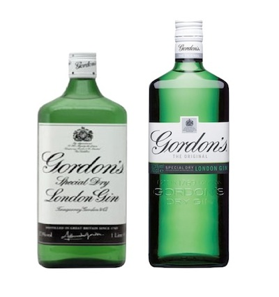 Photo: Gordon Gin's old (left) and new (right) package design