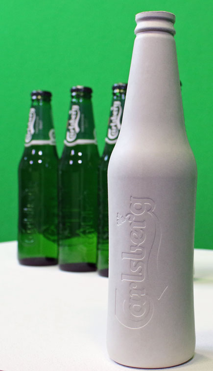Photo: the prototype of the Green Fiber bio-degradable Bottle from Carlsberg