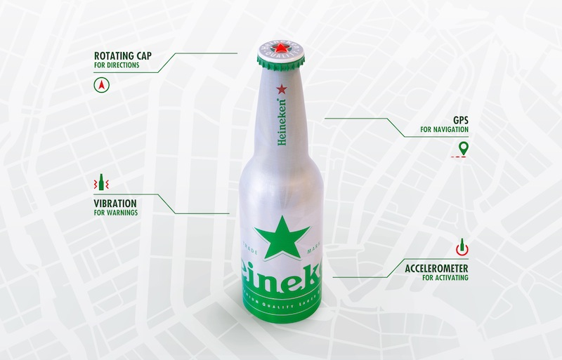Photo: Heineken GPS-enabled bottle with a compass in the rotating cap
