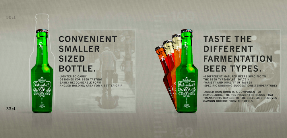 Photo: Tony Dianoff's concept of the Fagrenheit +60 beer range for the elderly drinkers