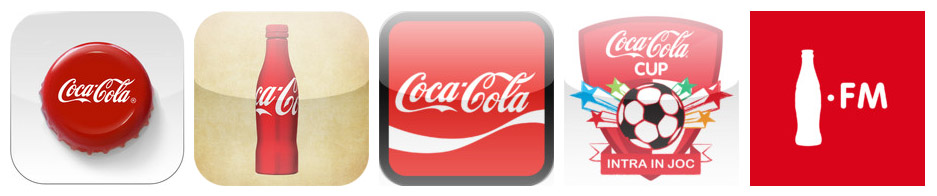 Pic.: Several apps by Coca-Cola: Magic Coke bottle, Coca-Cola heritage timeline, Coca-Cola Ambassador, Cupa Coca-Cola, and Coca-Cola FM, show consistency in style and use of brand icons.
