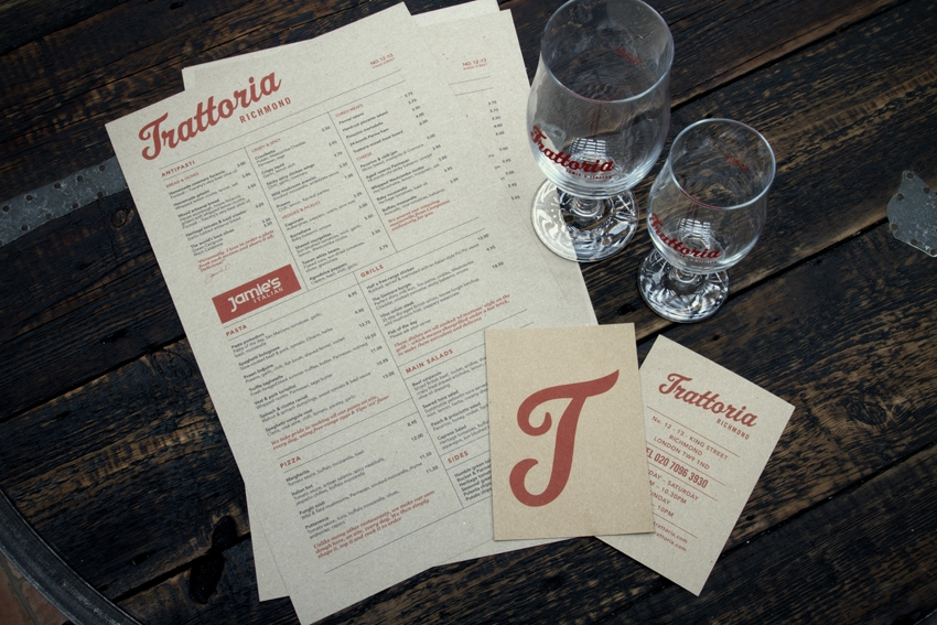 Photo: branding for Jamie Oliver's Trattoria in Richmond, U.K.