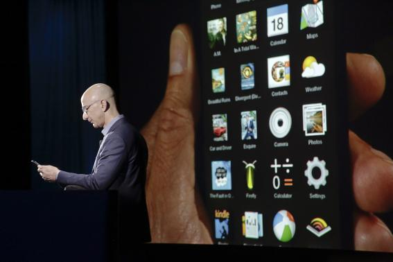 Photo: Jeff Bezos presenting the Fire phone at a news conference in Seattle, Washington on June 18.  Creadit: Reuters/ Jason Redmond
