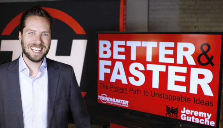 "Photo: Jeremy Gutsche at the presentation of his new book, ""Better and Faster"""