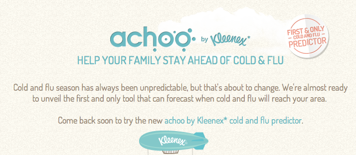 Pic.: Kleenex's flu-predicting online tool Achoo is to be launched soon