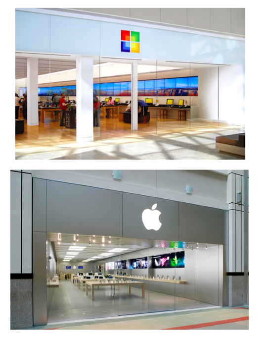 Photo: Microsoft store vs and Apple store