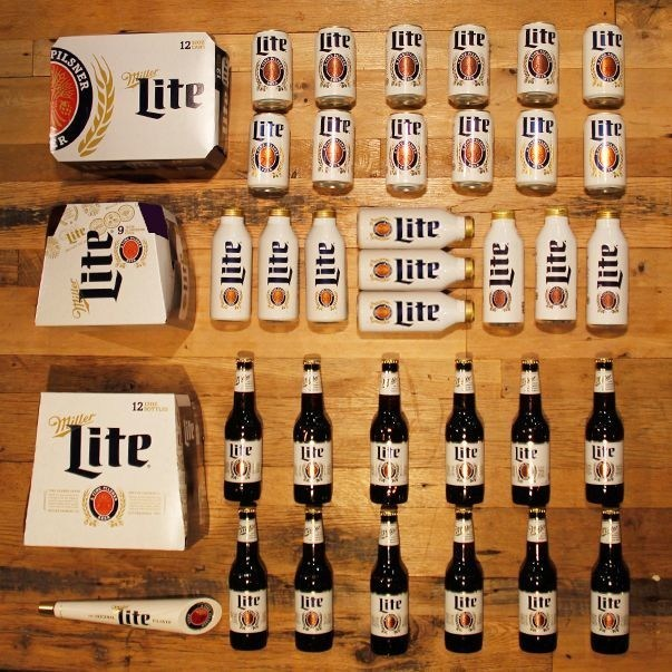 Photo: variety of the Miller Lite packaging with the heritage branding on it