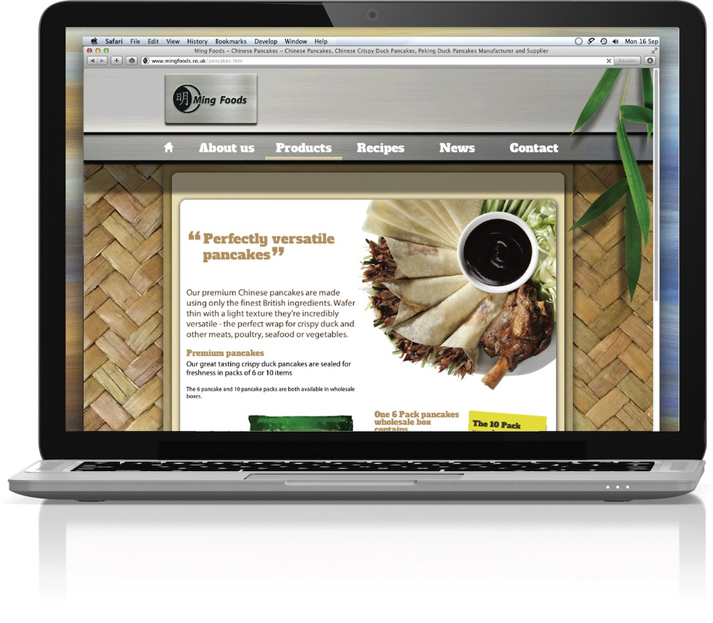 Photo: New design by Ming Foods' website, by Greenwich Design
