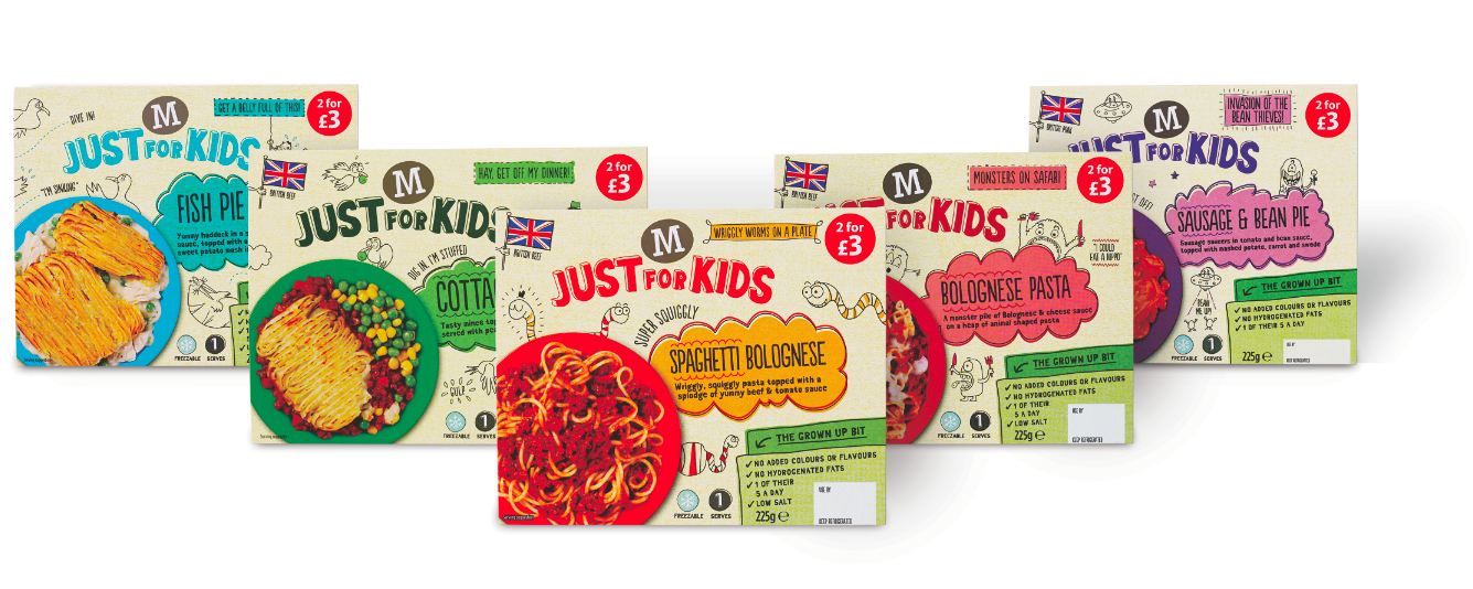 Photo: Morrisons' new range of kids' chilled ready meals, Just for Kids
