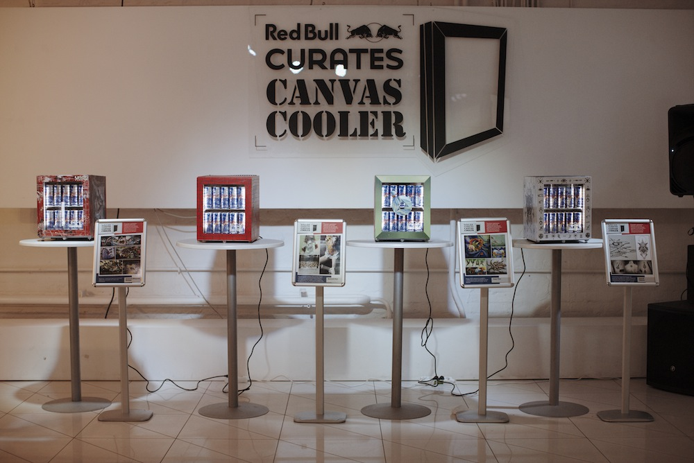 Photo: Some featured works of Red Bull Curates: The Canvas Cooler exhibition in Moscow, Mel Place, October 17th.