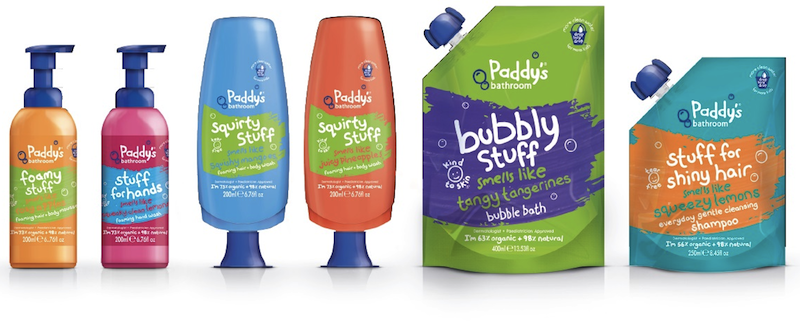 Pic.: packaging for the children's bath and body range Paddy's Bathroom