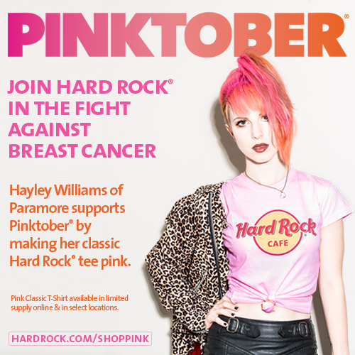 Photo: Hard Rock's promotion of PINKTOBER-themed merchandise