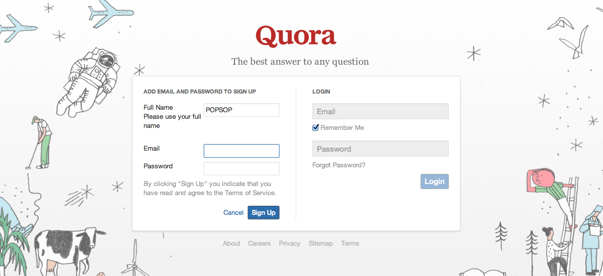 Pic.: Quora's new logo and illustrations on the website