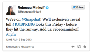 Pic.: Rebecca Minkoff tweets about Snapchat