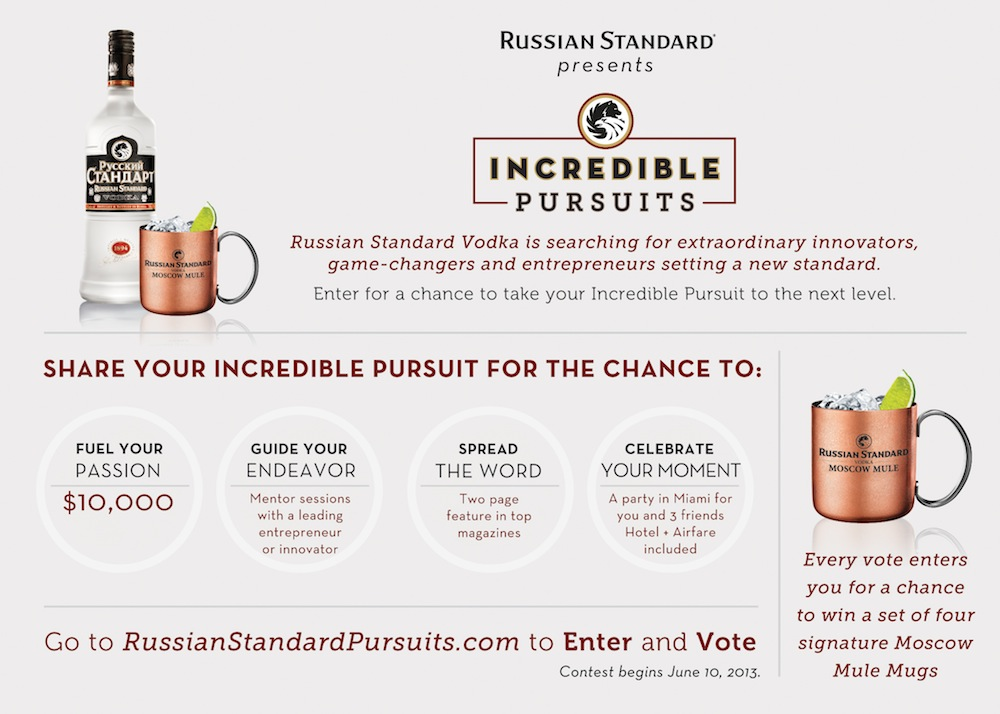 "Photo: Russian Standard Vodka nurtures entrepreneurial spirit in Americans through a new nationwide contest ""Incredible Pursuits"""
