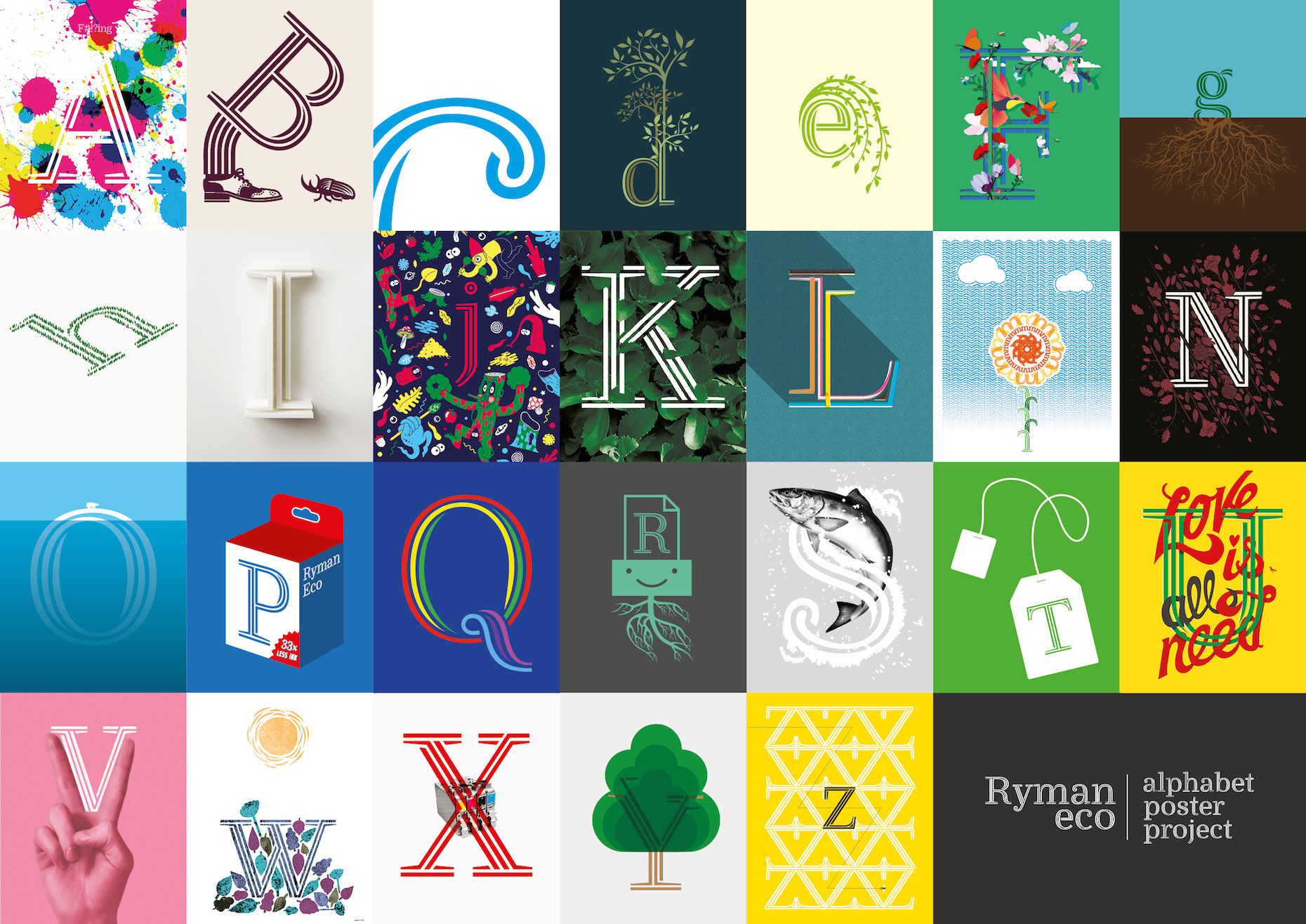 Photo: Alphabet Poster Project promotes the Ryman Eco sustainabel font