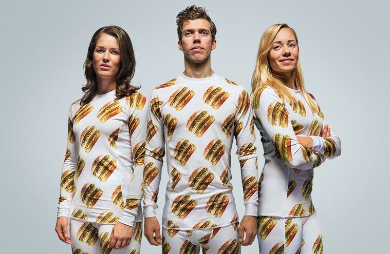 Photo: Bic-Mac-patterned clothing and a dog coat