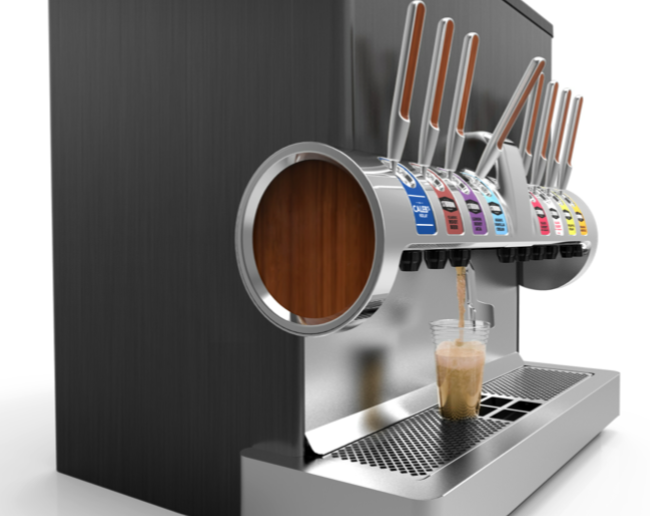 Pic.: New PepsiCo fountain system with craft drinks, including Stubborn Cola. 3D render