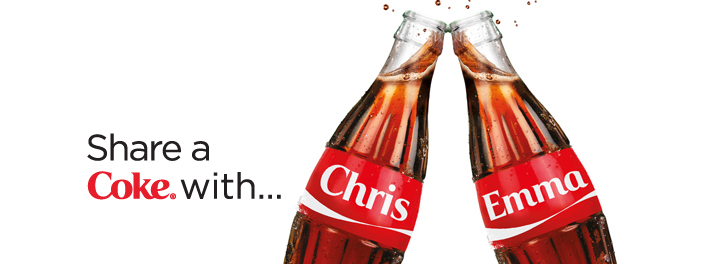 Photo: Personalised bottles, Share a Coke campaign