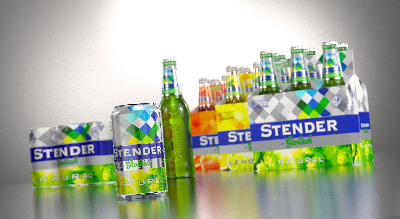 Photo: new labels of Stender light beer in the Netherlands