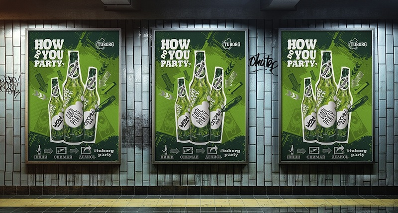Photo: Tuborg packaging design and collateral materials for the Russian market