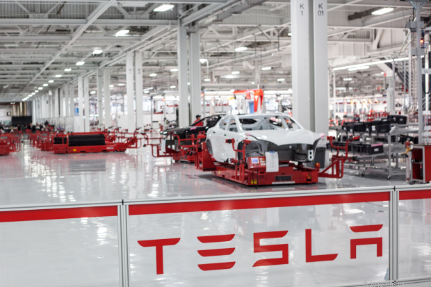 Photo: inside the Tesla Motors futuristic factory