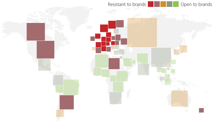 "Photo: The map of ""resistance"" to brands, TNS"