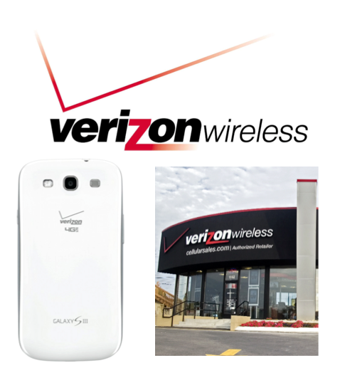 Photo: Verizon branded phone, logo and a store