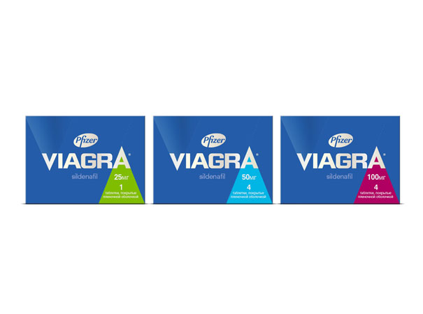 Photo: Viagra new packaging. Different dosage of 25, 50 and 100 mg.