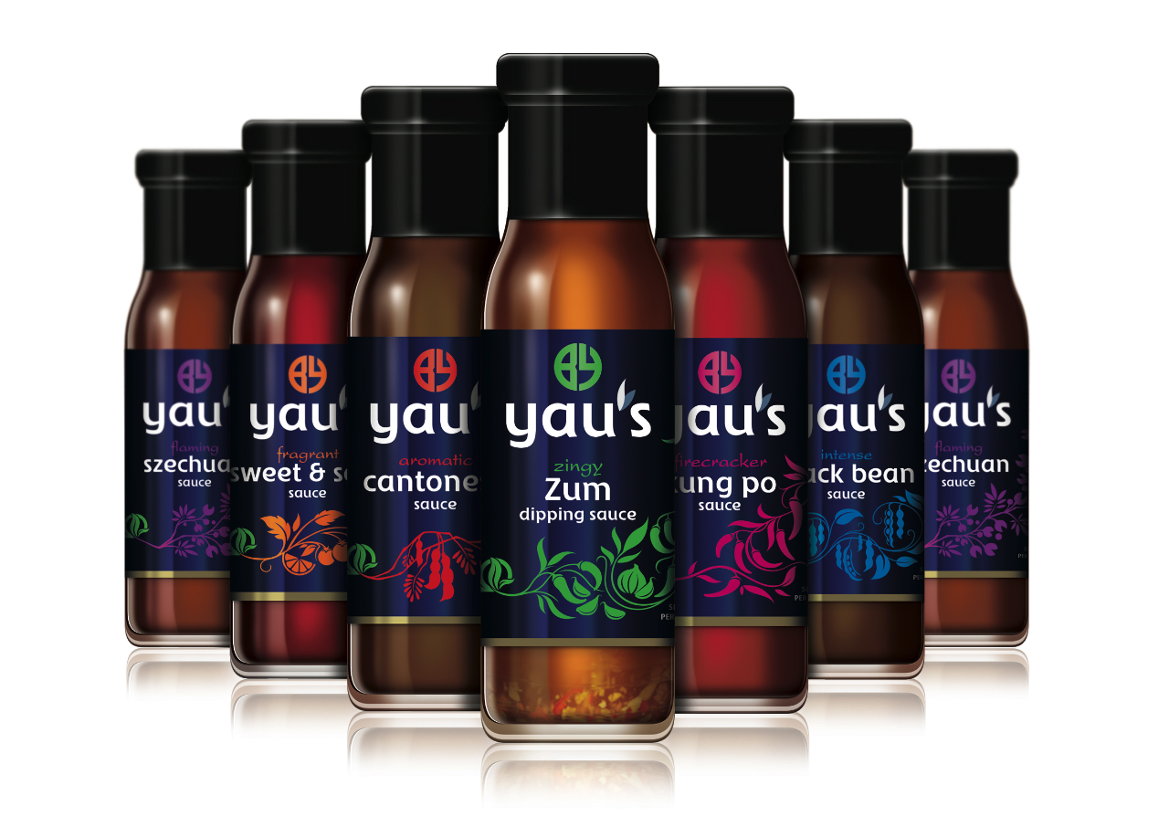 Pic. Asian cooking sauces range Yau's, new packaging