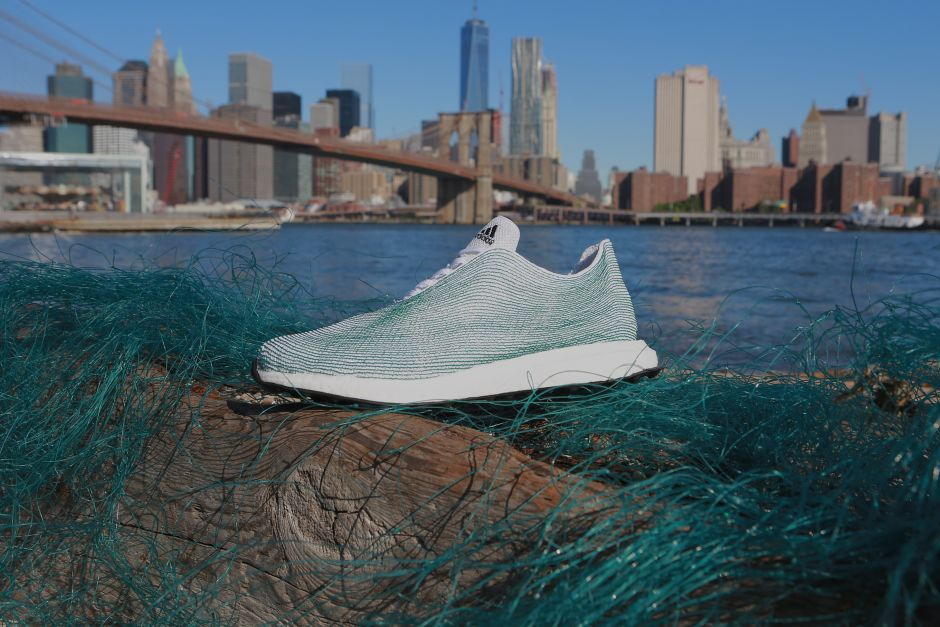 Photo: adidas sneakers partly made of recycled ocean plastic