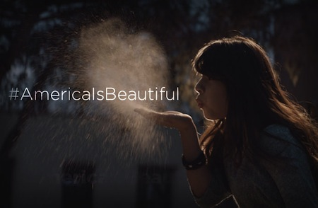 "Pic.: a still image from the Coke's ""America the Beautiful"" 2014 Super Bowl commercial"