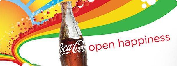 "Pic.: a fragment from one of Coca-Cola's ""Open Happiness"" posters"