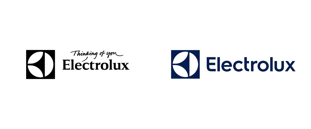 Pic. Electrolux old (on the left) and new (on the right) identity. Image credit: Brand New Under Consideration